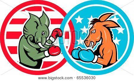 Boxing Democrat Donkey Versus Republican Elephant Mascot