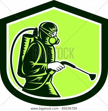 Pest Control Exterminator Spraying Shield Retro