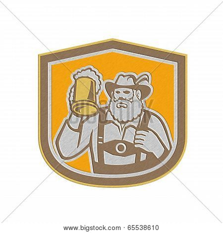 Metallic Bavarian Beer Drinker Mug Shield Retro