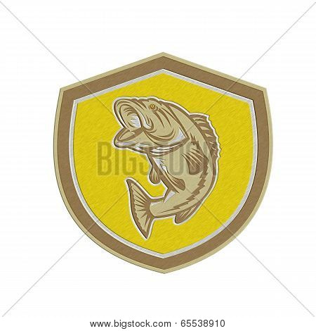 Metallic Largemouth Bass Jumping Shield Retro