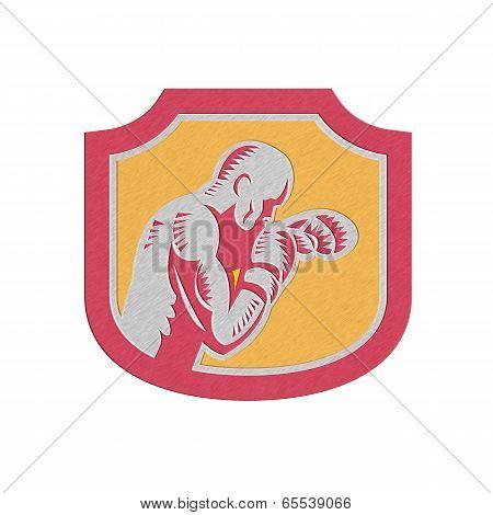 Metallic Boxer Boxing Jabbing Punch Side Shield Retro