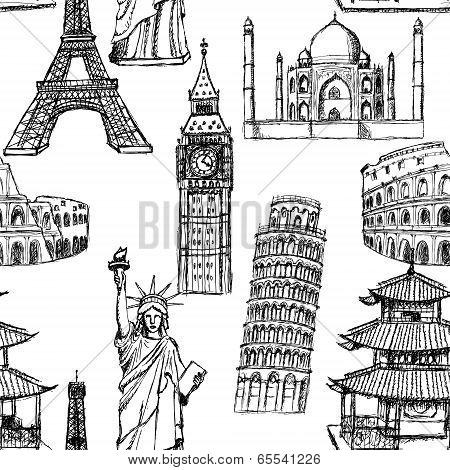 Sketch Eiffel Tower, Pisa Tower, Big Ben, Taj Mahal, Coliseum, Chinese Temple And Statue Of Liberty,