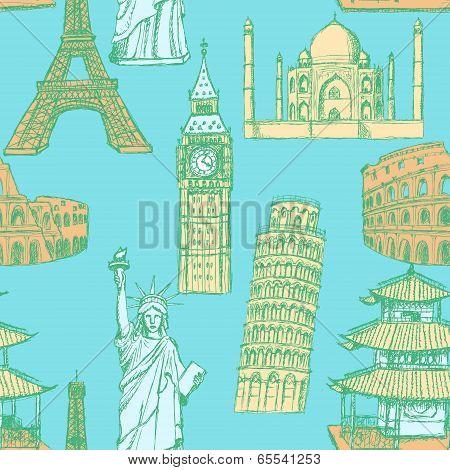 Sketch Eiffel Tower, Pisa Tower, Big Ben, Taj Mahal, Coliseum, Chinese Temple And Statue Of Liberty,