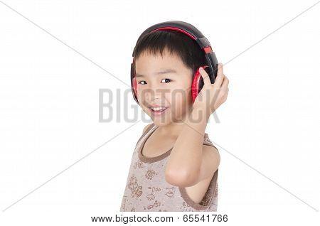 Cute children listen to music on white background