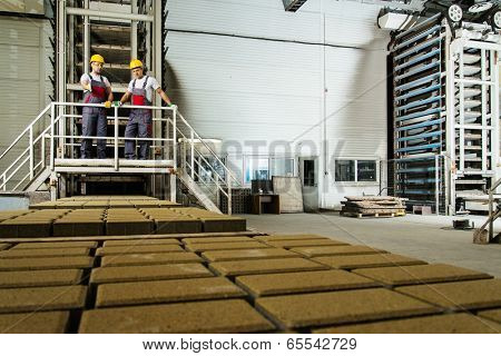 Two men in a safety hats on a factory
