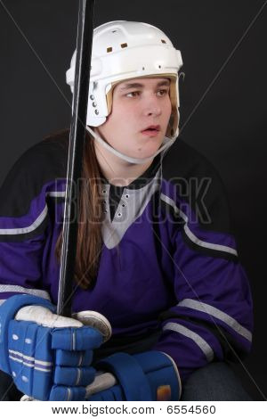 Teen Male Hockey Player