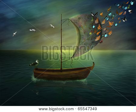 fantastic boat with butterflies and seagulls in the sunset