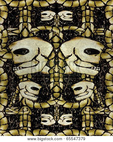 Creepy Skulls Pattern Background