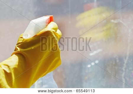Hand With Cleaner Spray Bottle