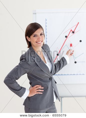 Smiling Businesswoman Reporting Sales Figures