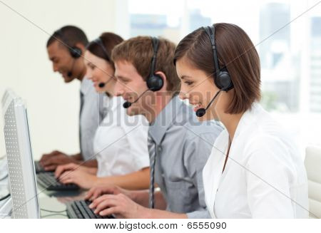 Multi-ethnic Business People In A Call Center