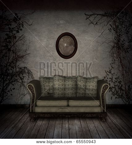 Creepy room with old sofa and broken mirror