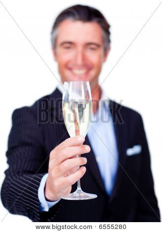 Successful Businessman Toasting With Champagne