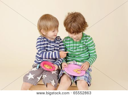 Kids Sharing A Snack, Food, Children's Fashion