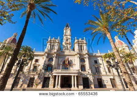 Valencia Ayuntamiento city town hall building and square in Spain