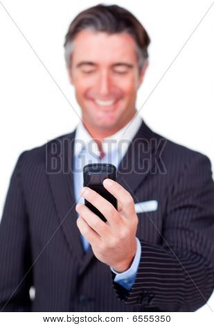Businessman Sending A Message Isolated On A White Background