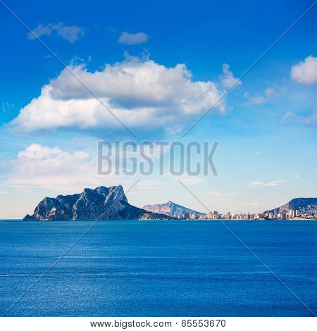 Ifach Penon view of calpe from Moraira in Mediterranean Alicante at Spain
