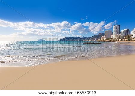 Calpe playa Cantal Roig beach near Penon de Ifach at Alicante spain