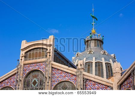 Valencia Mercado Central market outdoor dome with parrot in Spain