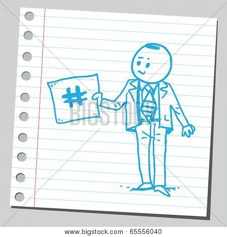 Businessman holding hashtag sign