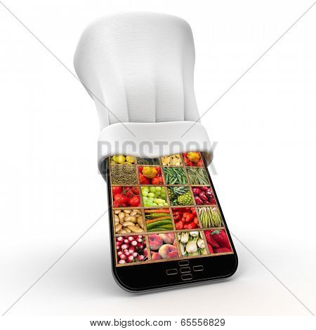 Tablet wearing a chefs toque with a healthy food collage in the screen