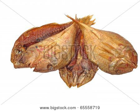 The Heap Of Dried Goatfish Taken Closeup.isolated.