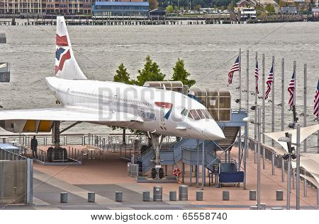 New York,usa - October 10: Supersonic Passenger Airplane Concorde On Display As A Tourist Attraction