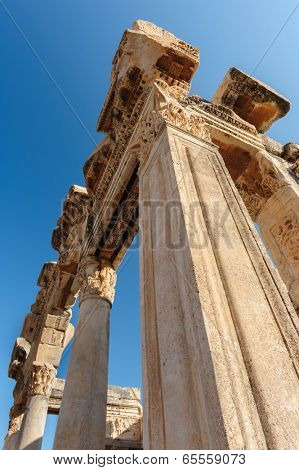 Old ruins of city building of ancient Ephesus