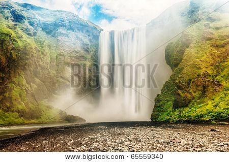 Skogafoss is a well known Icelandic waterfall on the South of the Iceland near the town Skogar