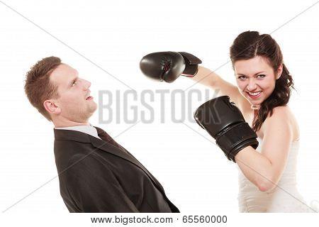 Wedding Couple. Bride Boxing Groom. Conflict.