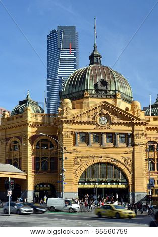 Flinders Street Rail Station Front Entrance, Melbourne.