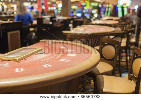 Las Vegas- USA, September, 30: Casino Round Gaming Table Empty Gaming Table in las Vegas in  Septemb