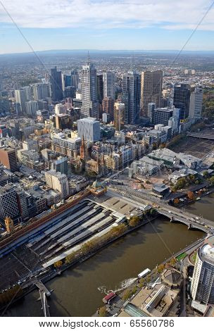 Aerial View Of Melbourne City Including Yarra River
