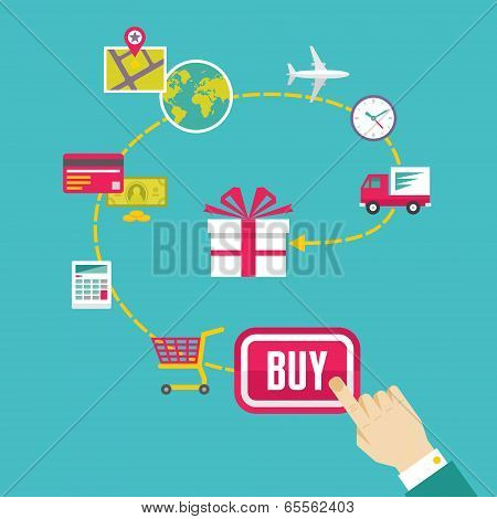 On-Line Shop and E-Commerce Creative Illustration