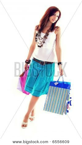 Cheerful Shopping Girl