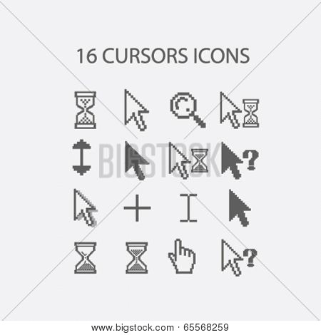 16 cursors, hand, search, select, question, information icons set, vector