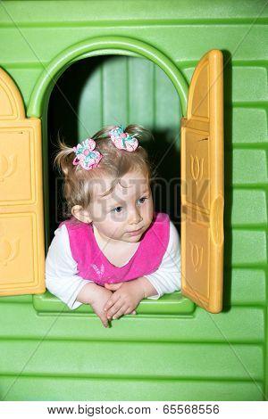 Little Child Girl Playing In Kindergarten In Montessori Preschool Class.