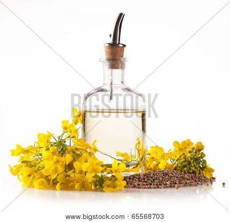 Isolated rape oil with blossoms on white background