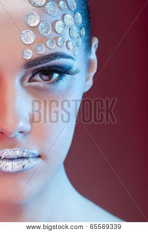Beautiful Woman With Art Make Up And Rhinestone
