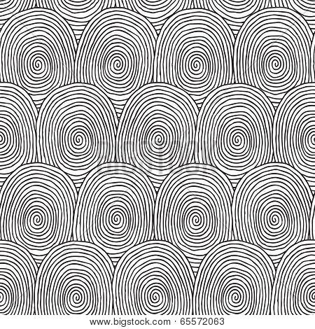 Fingerprint Seamless Pattern In Black And White