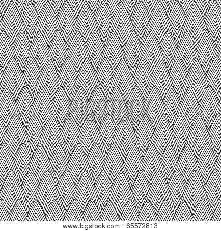 Mountan Chain Seamless Pattern In Black And White