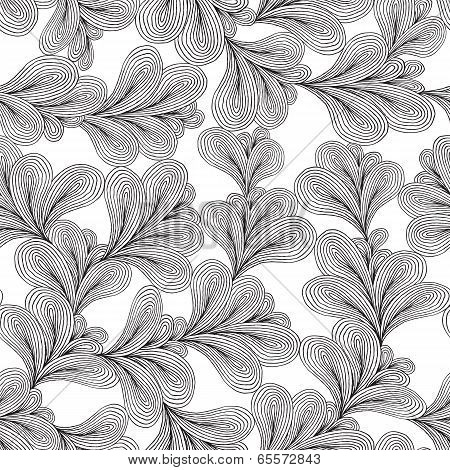 Floral Seamless Pattern In Black And White