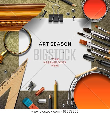 Art supplies template with artist tools