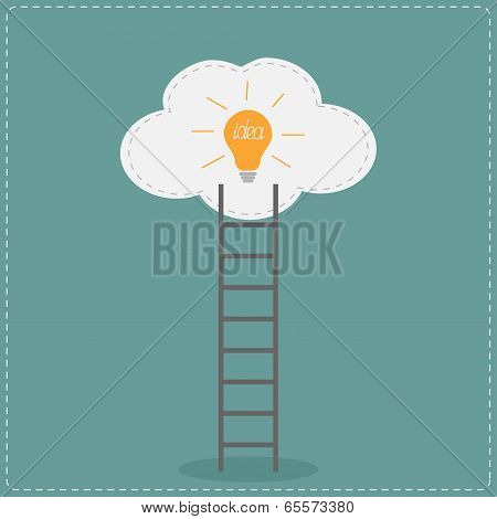 Ladder and cloud with idea light bulb. Success concept.  Flat de