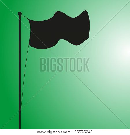 Flag Silhouette on Green