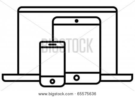 Phone, tablet and laptop outline vector icon