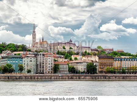 View Of Buda, Western Part Of Budapest With The St. Matthias Church And Fishermen's Bastion. Hungary