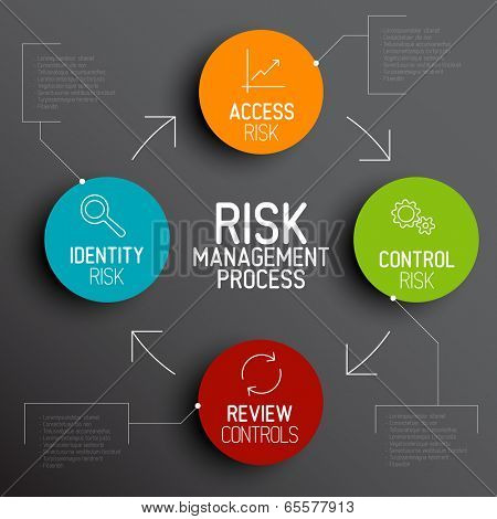 Vector Risk management process diagram schema with description