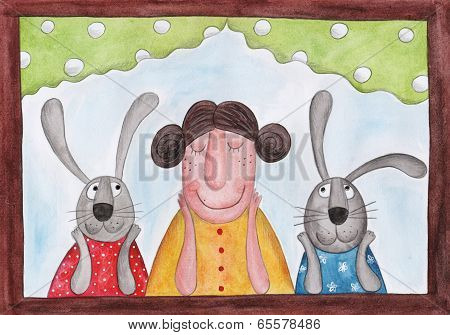 Lady and rabbits sitting at the window