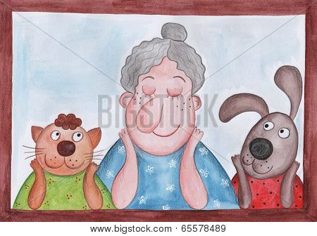 Lady and pets sitting at the window